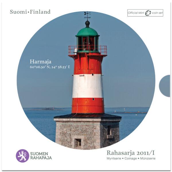 Rahasarja 2011/I BU Suomen majakat Harmaja sisältää Suomen vuoden 2011 metalliset käyttörahat himmeäkiiltoisina sekä Harmaja-majakkajetonin.
