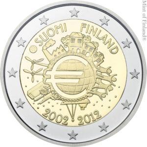 Vuoden 2012 kahden euron erikoisraha Euro 10 vuotta