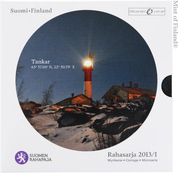 Rahasarja 2013/I BU Suomen majakat Tankar sisältää Suomen vuoden 2014 metalliset käyttörahat himmeäkiiltoisina sekä Tankar-majakkajetonin.