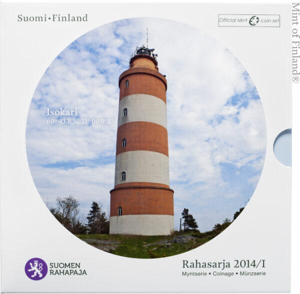 Rahasarja 2014/I BU Suomen majakat Isokari sisältää Suomen vuoden 2014 metalliset käyttörahat himmeäkiiltoisina sekä Isokari-majakkajetonin.