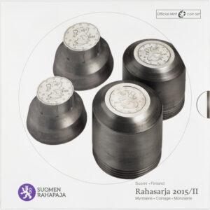 Rahasarja 2015/II BU sisältää Suomen vuoden 2015 metalliset käyttörahat himmeäkiiltoisina eli BU-laatuisina.