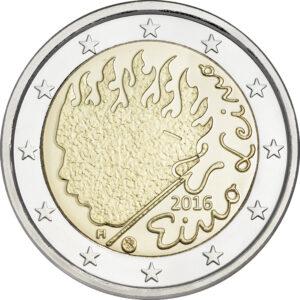 Vuoden 2016 Eino Leino 2 euron erikoisrahan tunnuspuolella on kuvattuna tuli ja polte, joka paloi Eino Leinon elämässä kaikilla osa-alueilla.