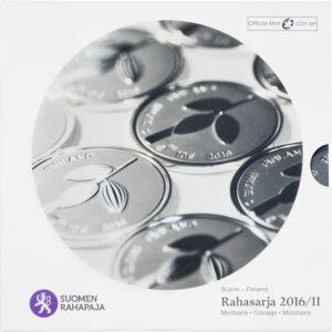 Suomen vuoden 2016 metalliset käyttörahat himmeäkiiltoisina eli BU-laatuisina.