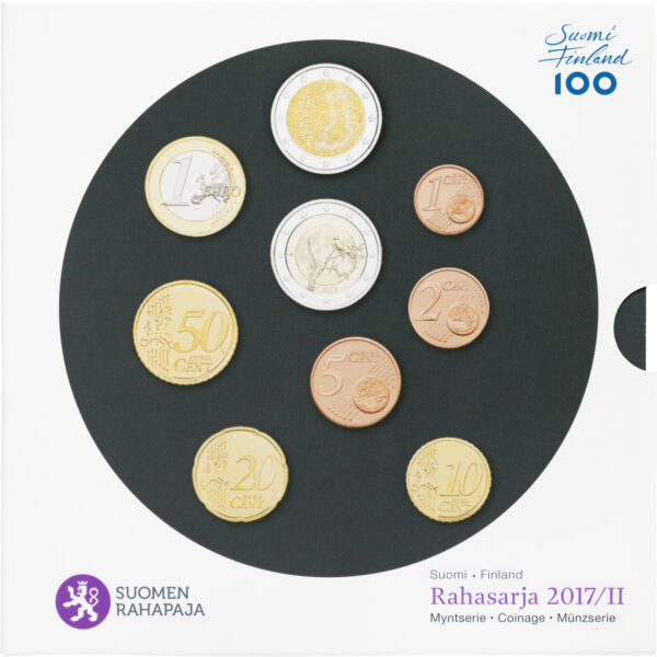 Rahasraja 2017/II BU sisältää Suomen vuoden 2017 metalliset käyttörahat himmeäkiiltoisina eli BU-laatuisina.