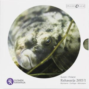 Rahasarja 2017/I BU Itämeren kalat kampela sisältää Suomen vuoden 2017 metalliset käyttörahat himmeäkiiltoisina sekä kampelajetonin.